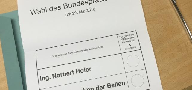 Bundespräsidentenwahl 2016 – Update: Ergebnis aus Rutzendorf und der Gemeinde