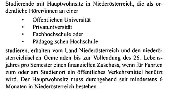 Info zum NÖ Bonus – Semesterticket